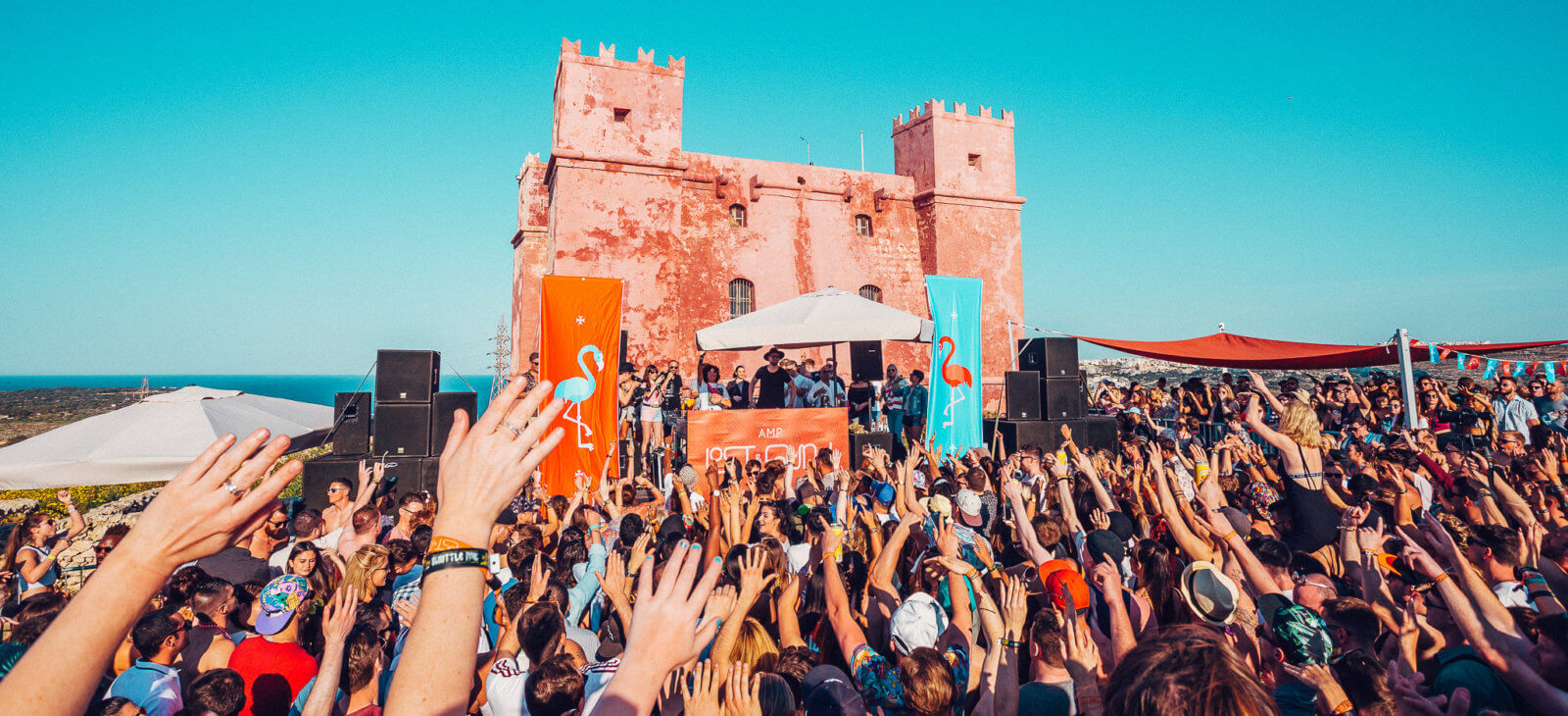 Lost and Found Festival with the Red Tower as a backdrop
